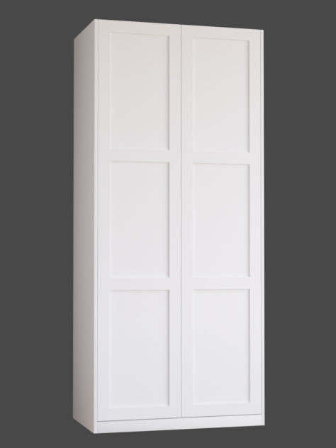Shaker 1.3 (med 3st speglar) till Pax garderob. Monterade på Pax stomme 100x236 cm med täcksidor och sockel. Vid annan höjd ändras höjden på den mellersta spegeln.