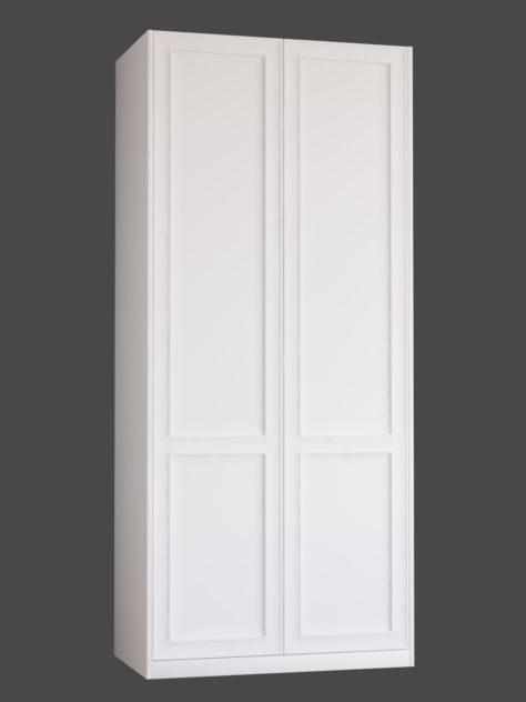 Shaker P1.2 (2st speglar) till Pax garderob. Monterade på Pax stomme 100x236 cm med täcksidor och sockel. Vid annan höjd ändras höjden på den övre spegeln.