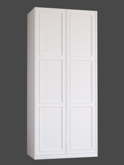 Shaker P2.3 (3st speglar) till Pax garderob. Monterade på Pax stomme 100x236 cm med täcksidor och sockel. Vid annan höjd ändras höjden på den mellersta spegeln.