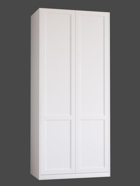 Shaker P3.2 (med 2st speglar) till Pax garderob. Monterade på Pax stomme 100x236 cm med täcksidor och sockel. Vid annan höjd ändras höjden på den övre spegeln.