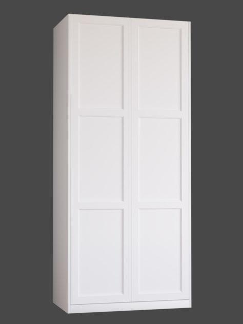 Shaker P3.3 (med 3st speglar) till Pax garderob. Monterade på Pax stomme 100x236 cm med täcksidor och sockel. Vid annan höjd ändras höjden på den övre spegeln.