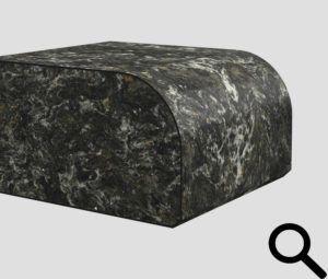 Halvrund kant (R15 mm), fas på undersidan.